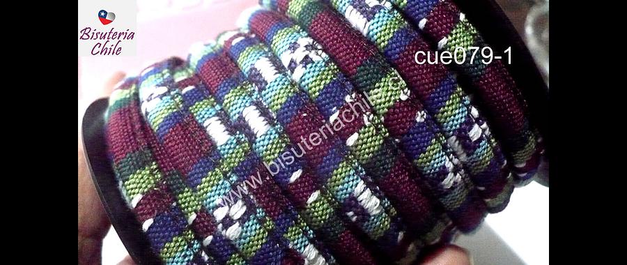 Cordón estilo étnico, en colores burdeos, verdes, blancos y azules, 7 mm de ancho, tira de 1 metro