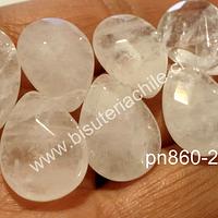 Cuarzo cristal facetado gota, 18 mm de largo por 13 mm de ancho, tira de 14 unidades