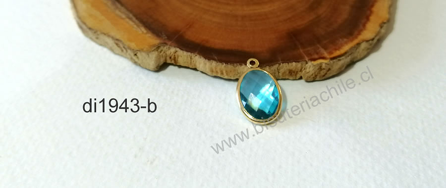 Dije o colgante cristal facetado calipso con borde baño de oro. 16 x 10 mm, 2 mm de ancho, por unidad