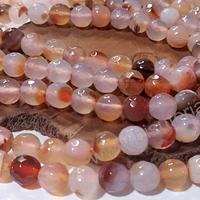 Agatas, Piedra Agata de 8 mm en tonos naranjo claro matizado, tira de 46 piedras aprox