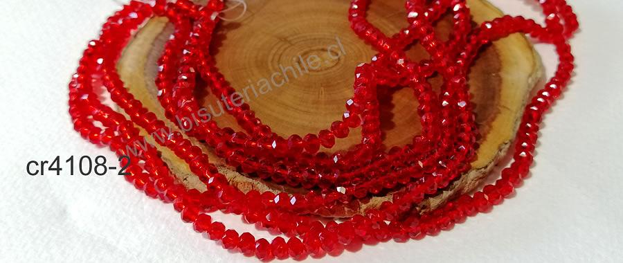 Cristal facetado color rojo 4 mm, tira de 140 cristales aprox