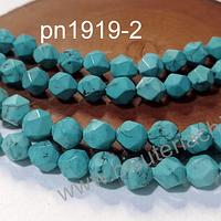 Turquesa Facetado corte hexagonal, 8 mm, tira de 20 unidades