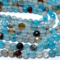 Agata facetada 4 mm, en colores celestes y naranjos, tira de 90 piedras aprox