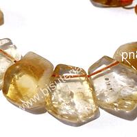 Citrino, medida enre 21 y 15 mm de largo, y  entre 15 y 12 mm de ancho, tira de 18 piedras aprox.
