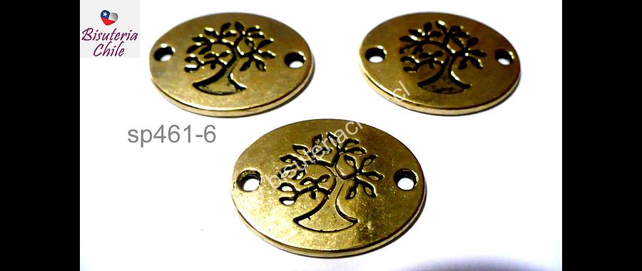 Dije dorado doble conexión con árbol de la vida, 22 mm de lancho por 18 mm de largo, set de 3 unidades