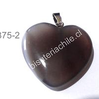 Dije corazón cuarzo gris, 25 mm de largo por 26 mm de ancho, con valier, venta por unidad