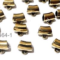Separador dorado con argolla para colgar dije, 8 x 5 mm agujero de 4 mm, set de 18 unidades