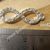 Colgante doble conexión infinito con strass, 34 x 11 mm, por unidad