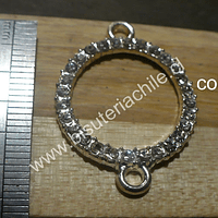 Colgante doble conexión con strass, 31 mm de diámetro, por unidad