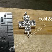 Cruz doble conexión con strass, 19 mm de alrgo x 18 mm de ancho, por unidad
