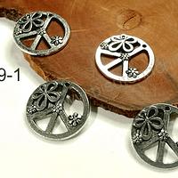 Dije amor y paz, 22 mm de diámetro, set de 4 unidades
