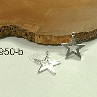 Dije baño de plata en forma de estrella, 12 mm, set de 2 unidades