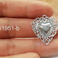 Colgante corazón detente con baño de plata, 25 x 24 mm por unidad