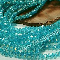 Cristal facetado calipso tornasol 4 mm, tira de 140 cristales aprox