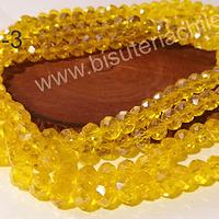 Cristal amarillo de 8mm por 6mm, tira de 69 unidades aprox