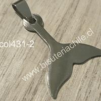 Colgante acero quirúrgico en forma de Cola de Sirena, 30 x 24 mm, por unidad