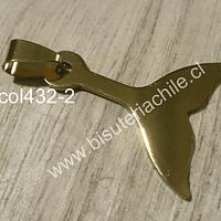 Colgante acero quirúrgico dorado, en forma de Cola de Sirena, 30 x 24 mm, por unidad