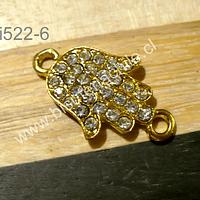 Dije doble conexión dorado con strass, en forma de mano de hamsa, 25 x 10 mm, incluyendo las argollas, por unidad