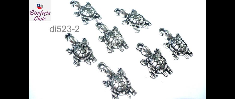 Dije plateado en forma de tortuga, 22 x 12 mm, set de 5 unidades