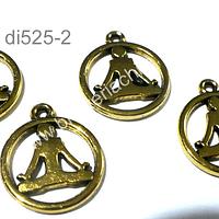 Dije dorado, yoga, 16 mm de diámetro, set de 4 unidades
