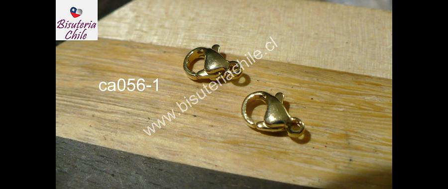 Gancho mosquetón acero inoxidable dorado. 10 x 6 mm, set d 2 unidades