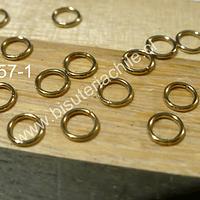 Argolla acero inoxidable dorado, 6 mm, set e 20 unidades