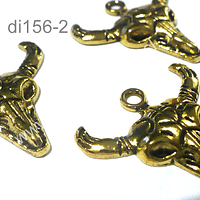 Dije dorado en forma de cabeza de res, 26 de largo por 30 de ancho, set de 3 unidades