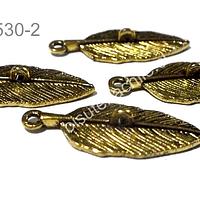 Dije dorado en forma de hoja con argolla en el centro para colgar, 30 mm de largo x 16 mm de ancho, set de 4 unidades
