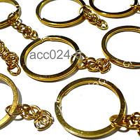 Base llavero dorado simple con cadena, 30 mm de diámetro, set de 10 unidades