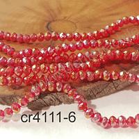 Cristal facetado tornasol rojo con brillos dorados 4 mm, tira de 140 cristales aprox