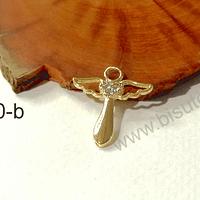Dije baño de oro en forma de ángel con circones, 22 x 20 mm, por unidad