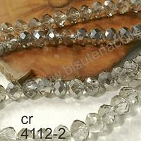 Cristal gris tornasol de 8mm por 6mm, tira de 69 unidades aprox