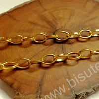Cadenas, cadena dorada, eslabón de 10 x 7 mm, por metro