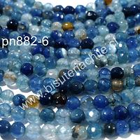 Agata 4 mm, en tonos azules, celestes y cafés, tira de 90 piedras