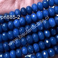 Agata facetada rondell en color azul, 8 x 5 mm, tira de 70 piedras aprox.