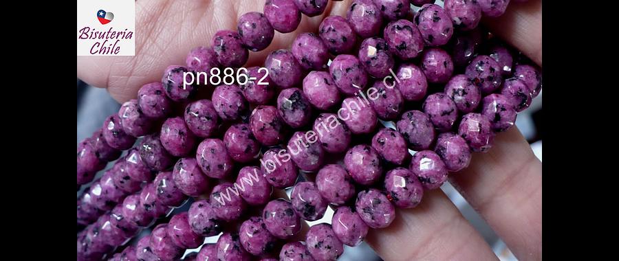 Agatas, Agata facetada rondell en color rosado matizado, 8 x 6 mm, tira de 64 piedras aprox.