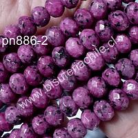 Agata facetada rondell en color rosado matizado, 8 x 6 mm, tira de 64 piedras aprox.