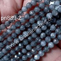 Agata facetada de 4 mm, en color gris, tira de 90 piedras aprox.