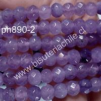 Agata facetada rondell, color lila, 8 x 6 mm, tira de 64 piedras aprox.