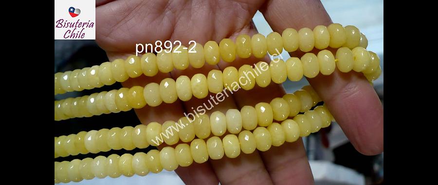 Agatas, Agata facetada rondell en tono amarillo, 8 x 5 mm, tira de 70 unidades aprox.