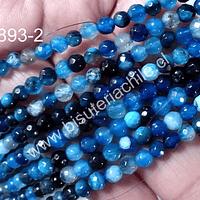 Agata facetada 4 mm en tonos azules, tira de 90 piedras aprox.