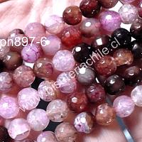 Agata facetada 8 mm, en tonos rosados y cafes, tira de 48 piedras aprox.