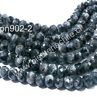 Agata facetada rondell en color gris , 8 x 5 mm, tira de 65 piedras aprox