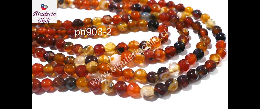 Agata facetada de 4 mm, en tonos naranjos y cafes, tira de 90 piedras aprox.