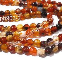 Agata facetada de 4 mm, en tonos naranjos, tira de 90 piedras aprox.