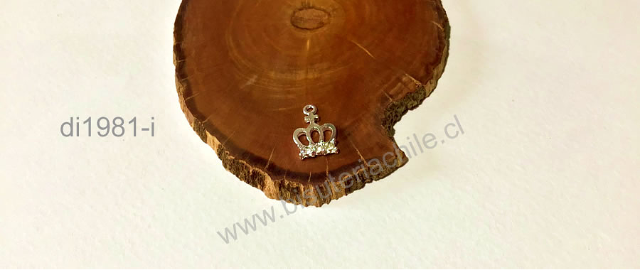 Dije baño de plata con circones en forma de corona, 18 x 11 mm, por unidad