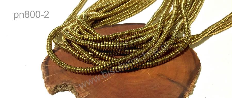 Hematite rondell dorado, no imantada de 5 x 1,5 mm, tira de 200 piedras aprox.