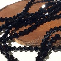 Cristal tupi 6 mm negro, tira de 50 cristales aprox