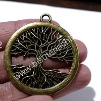 Colgante árbol de la vida envejecido, 42 mm de diámetro, por unidad
