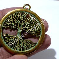 Colgante árbol de la vida dorado con turquesa, 42 mm de diámetro, por unidad